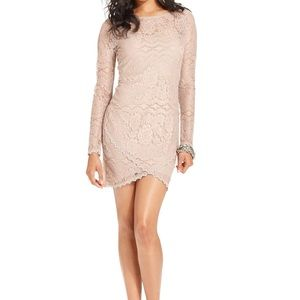 Guess Long Sleeve Lace Body Con Dress | S